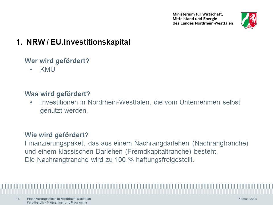 NRW / EU.Investitionskapital Wer wird gefördert
