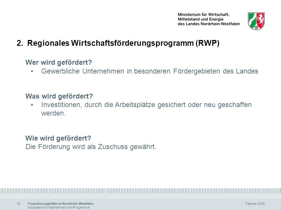 Regionales Wirtschaftsförderungsprogramm (RWP) Wer wird gefördert