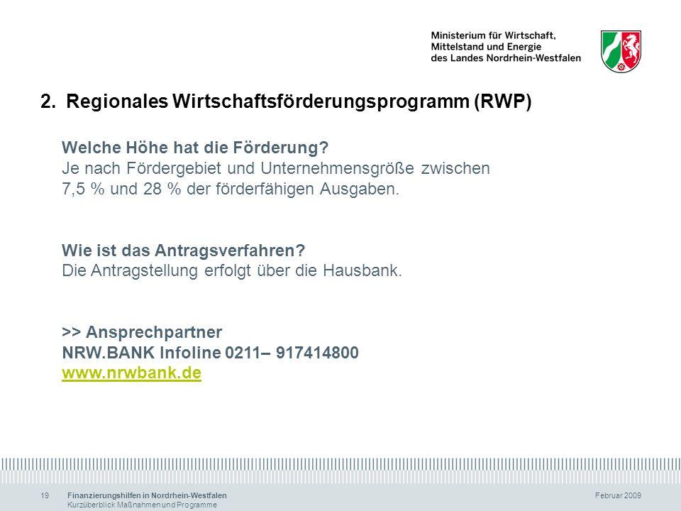 Regionales Wirtschaftsförderungsprogramm (RWP)
