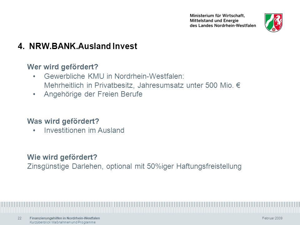 NRW.BANK.Ausland Invest Wer wird gefördert