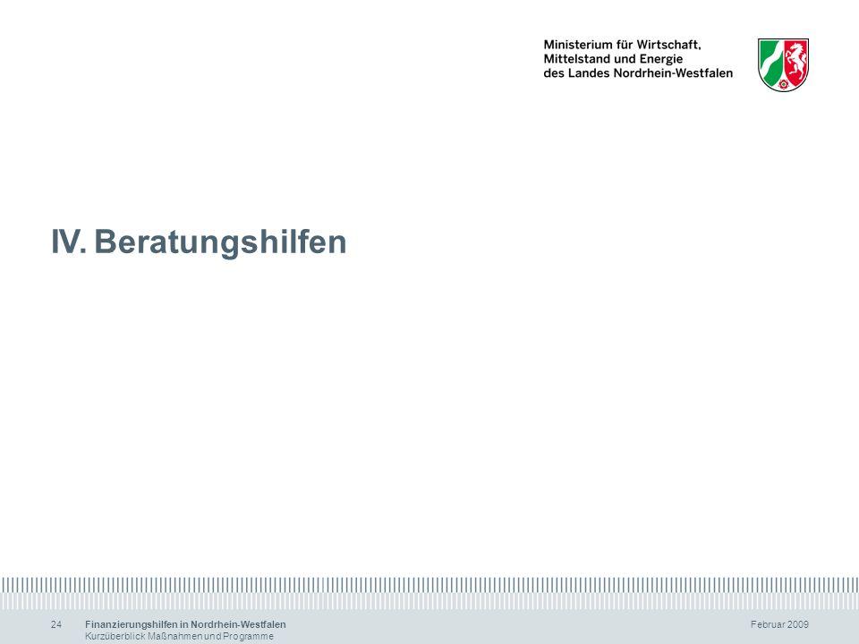 IV. Beratungshilfen Finanzierungshilfen in Nordrhein-Westfalen Februar 2009.