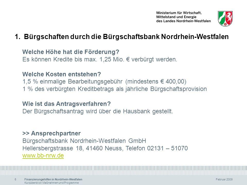 1. Bürgschaften durch die Bürgschaftsbank Nordrhein-Westfalen