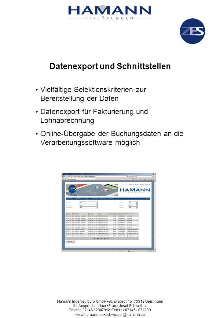 Datenexport und Schnittstellen