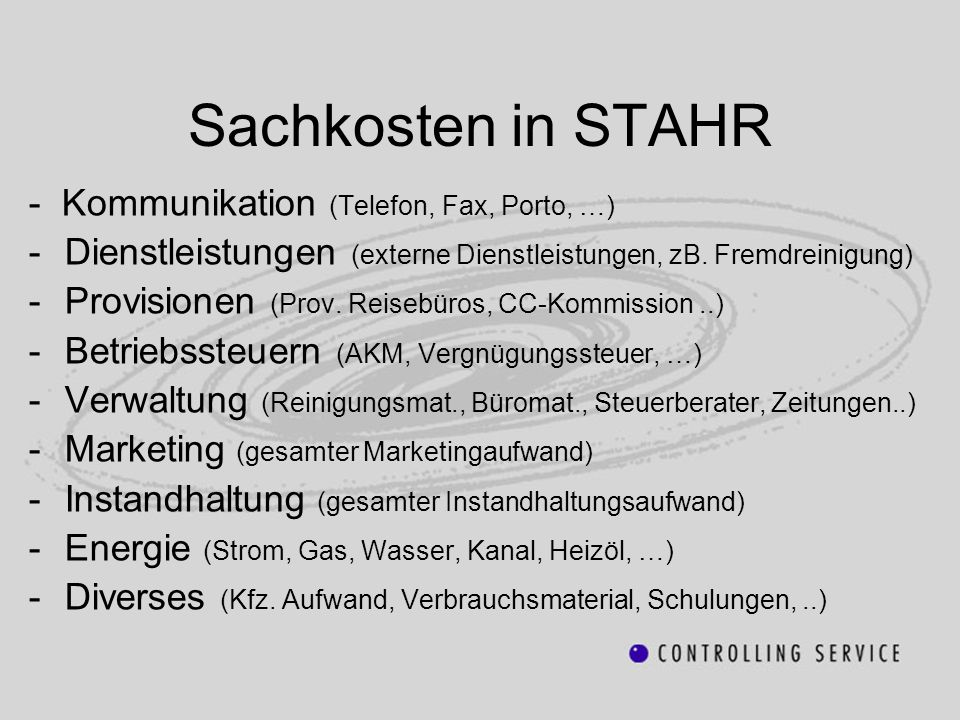 Sachkosten in STAHR - Kommunikation (Telefon, Fax, Porto, …)