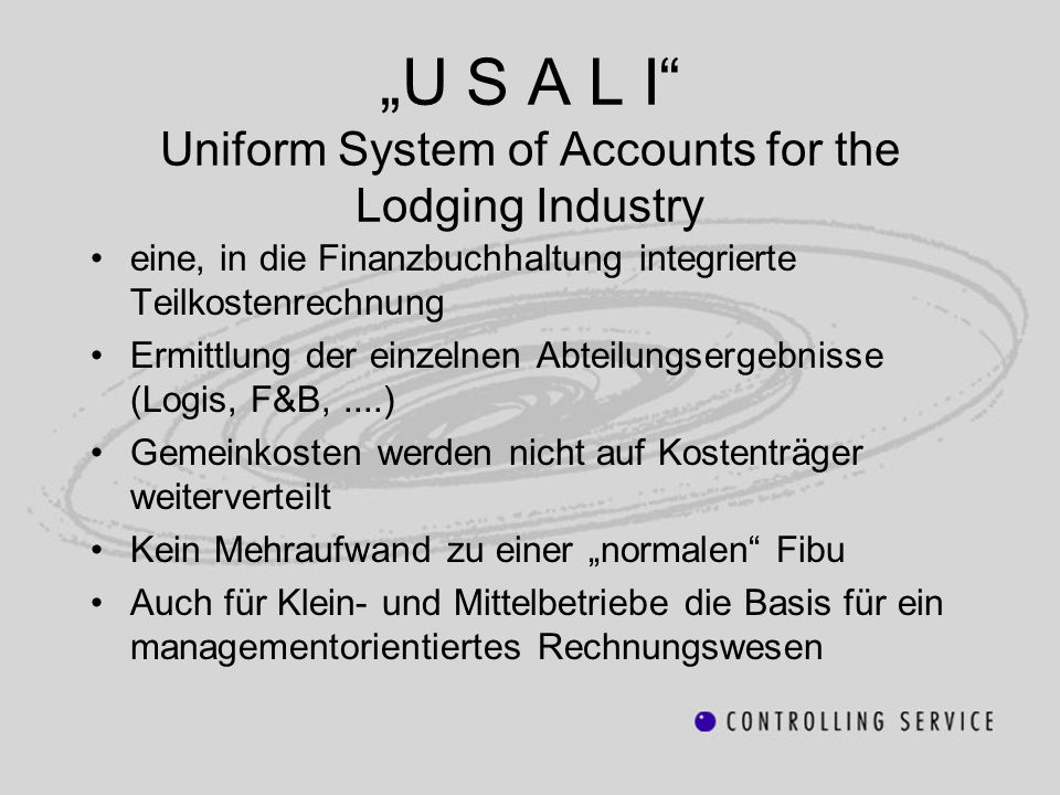 """U S A L I Uniform System of Accounts for the Lodging Industry"