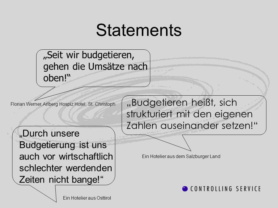 """Statements """"Seit wir budgetieren, gehen die Umsätze nach oben!"""