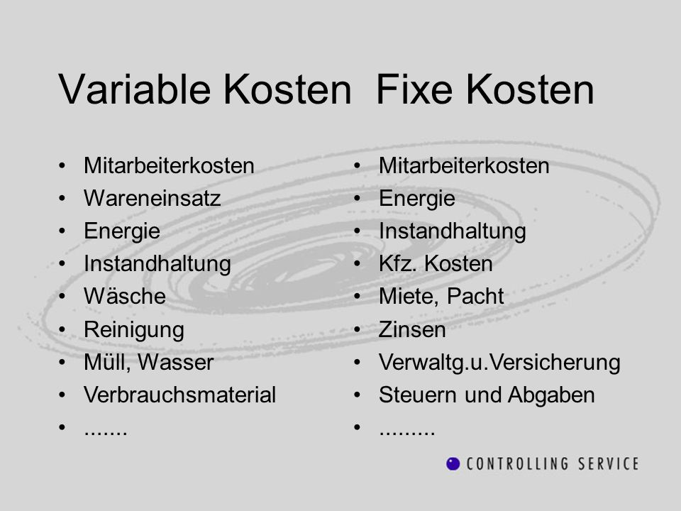 Variable Kosten Fixe Kosten