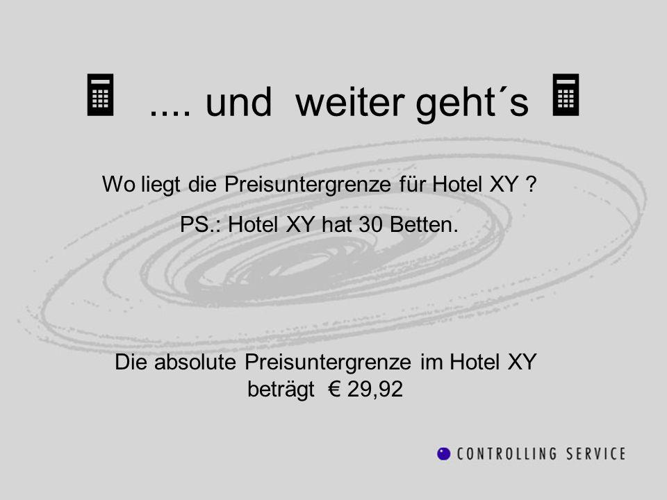  .... und weiter geht´s  Wo liegt die Preisuntergrenze für Hotel XY PS.: Hotel XY hat 30 Betten.