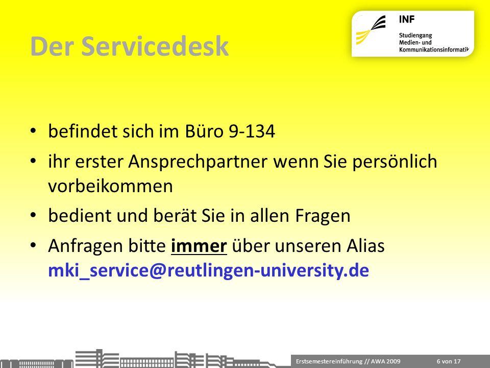 Der Servicedesk befindet sich im Büro 9-134