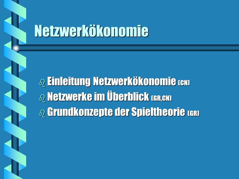 Netzwerkökonomie Einleitung Netzwerkökonomie (CN)