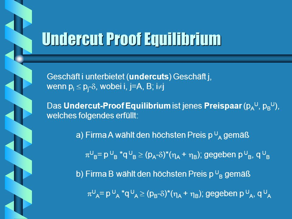 Undercut Proof Equilibrium