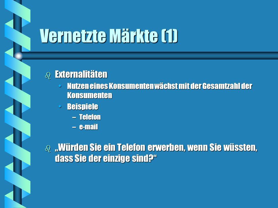 Vernetzte Märkte (1) Externalitäten
