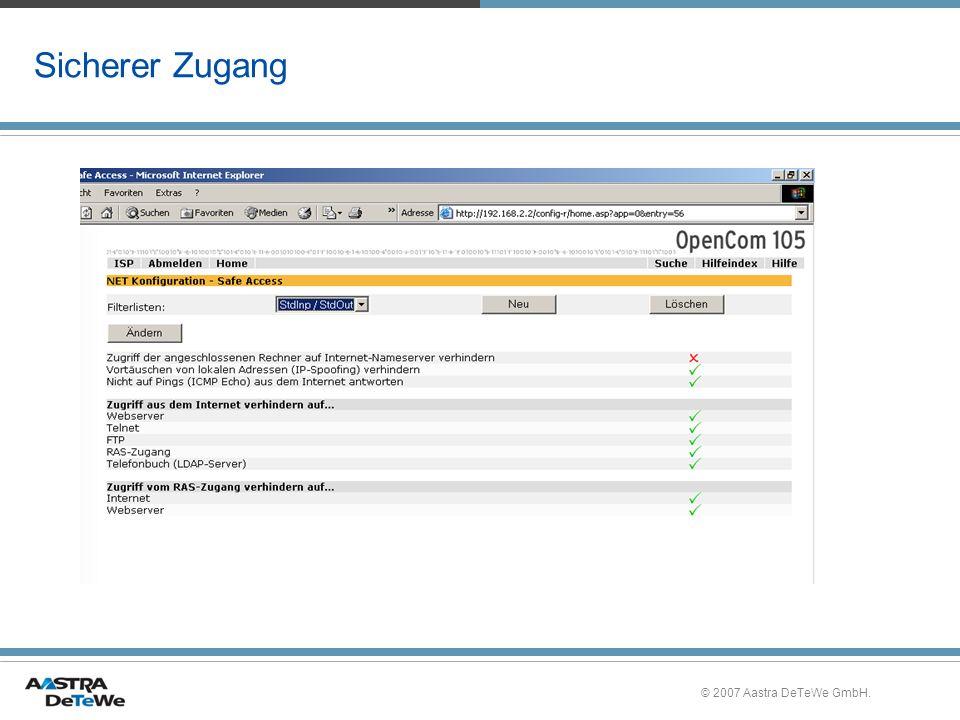 Sicherer Zugang © 2007 Aastra DeTeWe GmbH.