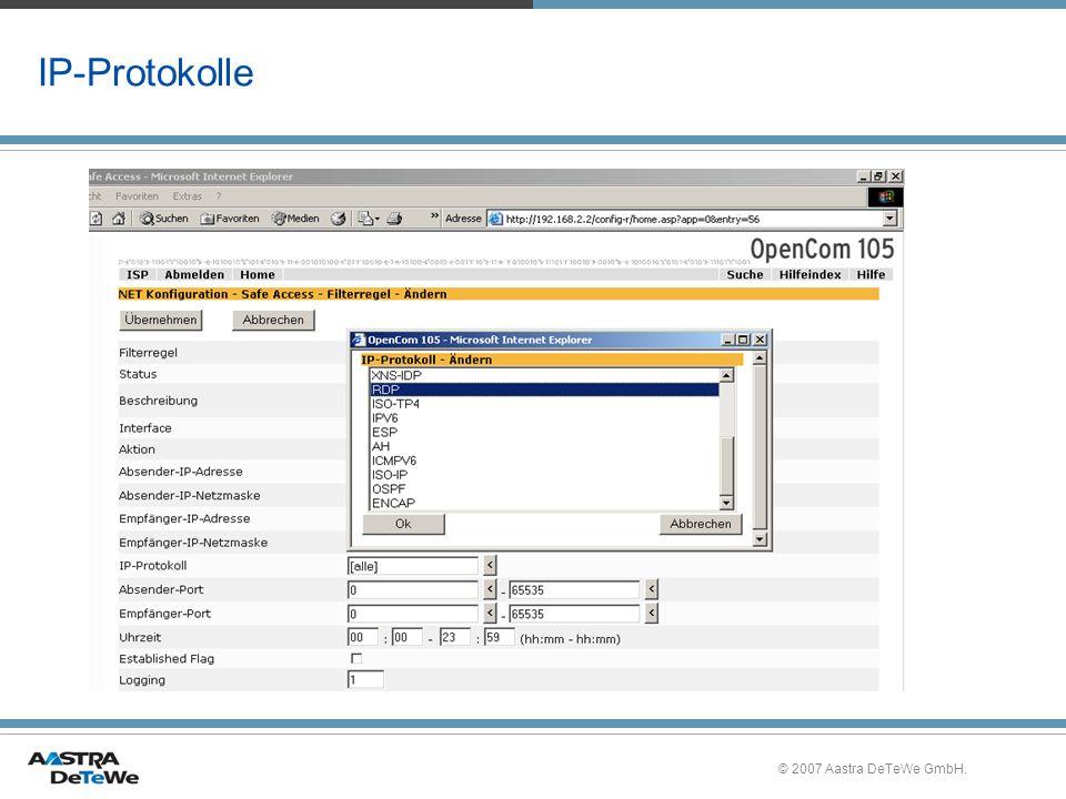 IP-Protokolle © 2007 Aastra DeTeWe GmbH.