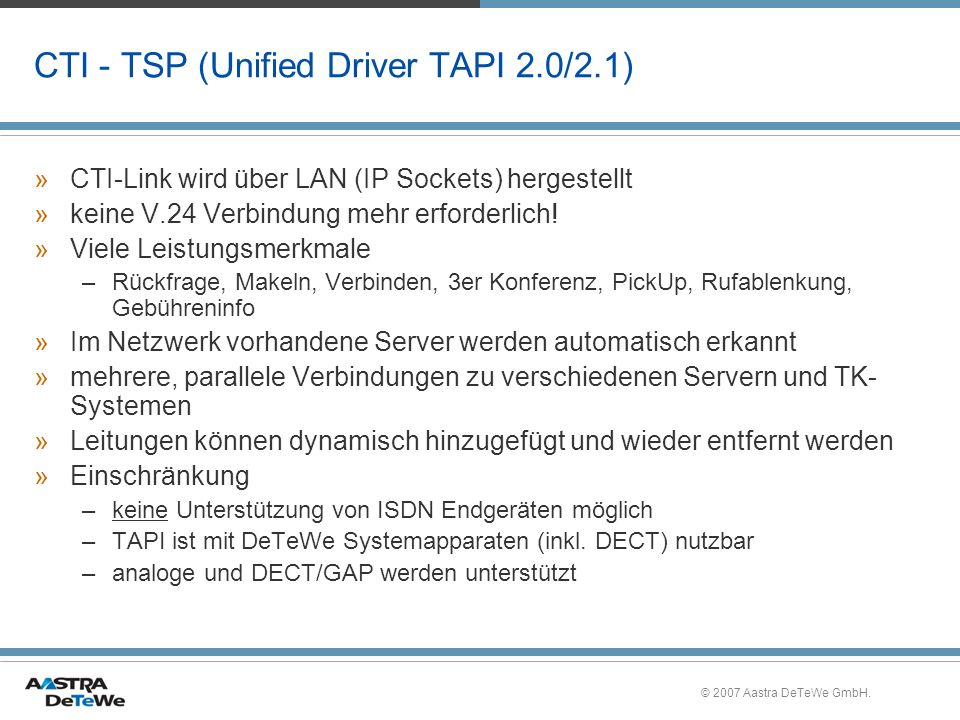 CTI - TSP (Unified Driver TAPI 2.0/2.1)