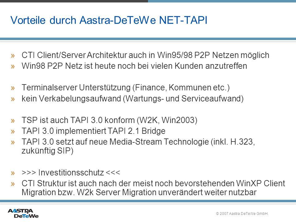 Vorteile durch Aastra-DeTeWe NET-TAPI