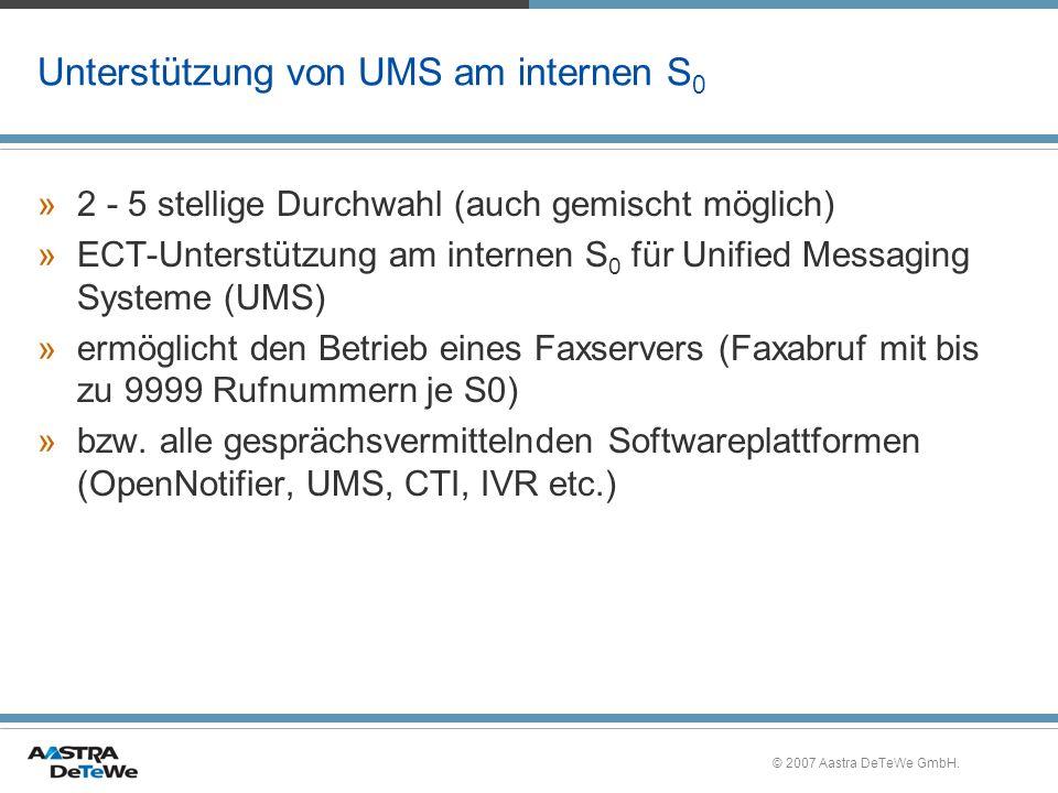Unterstützung von UMS am internen S0