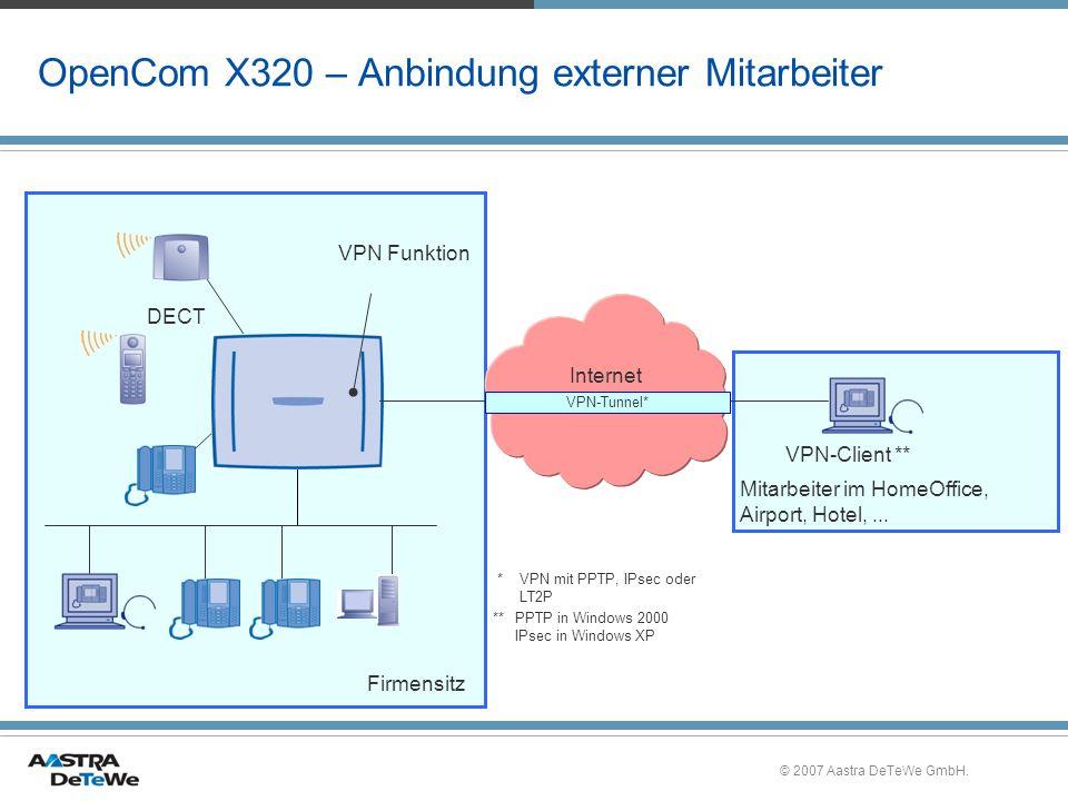 OpenCom X320 – Anbindung externer Mitarbeiter