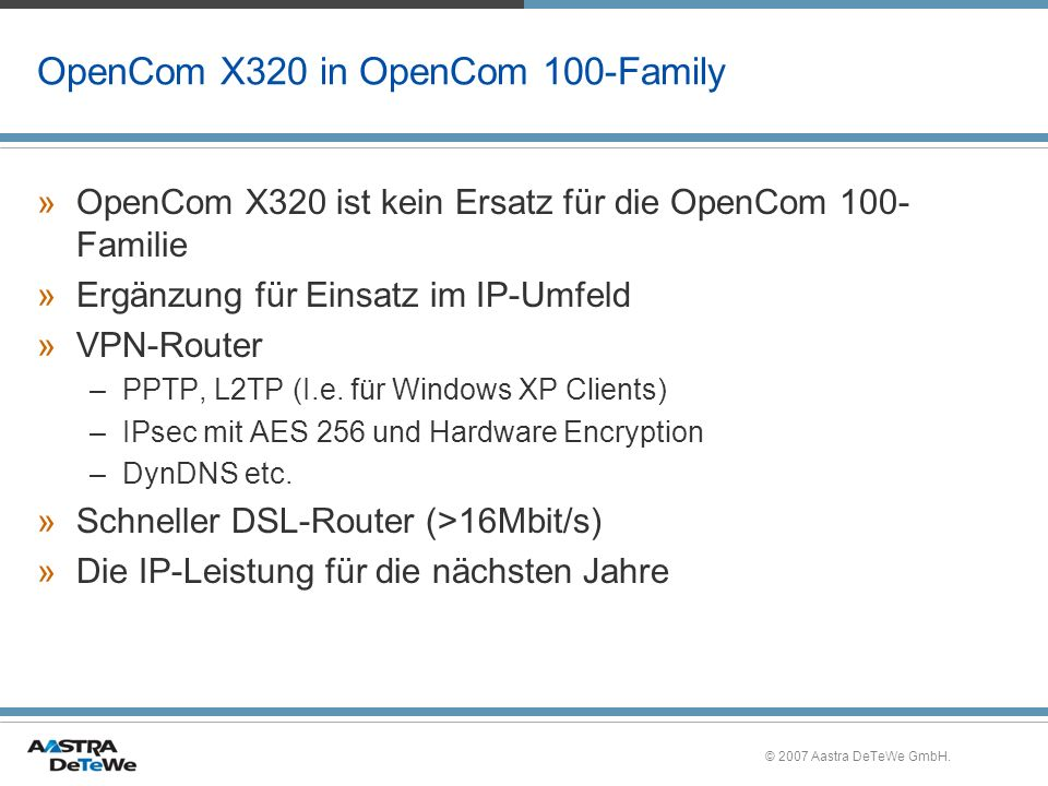 OpenCom X320 in OpenCom 100-Family