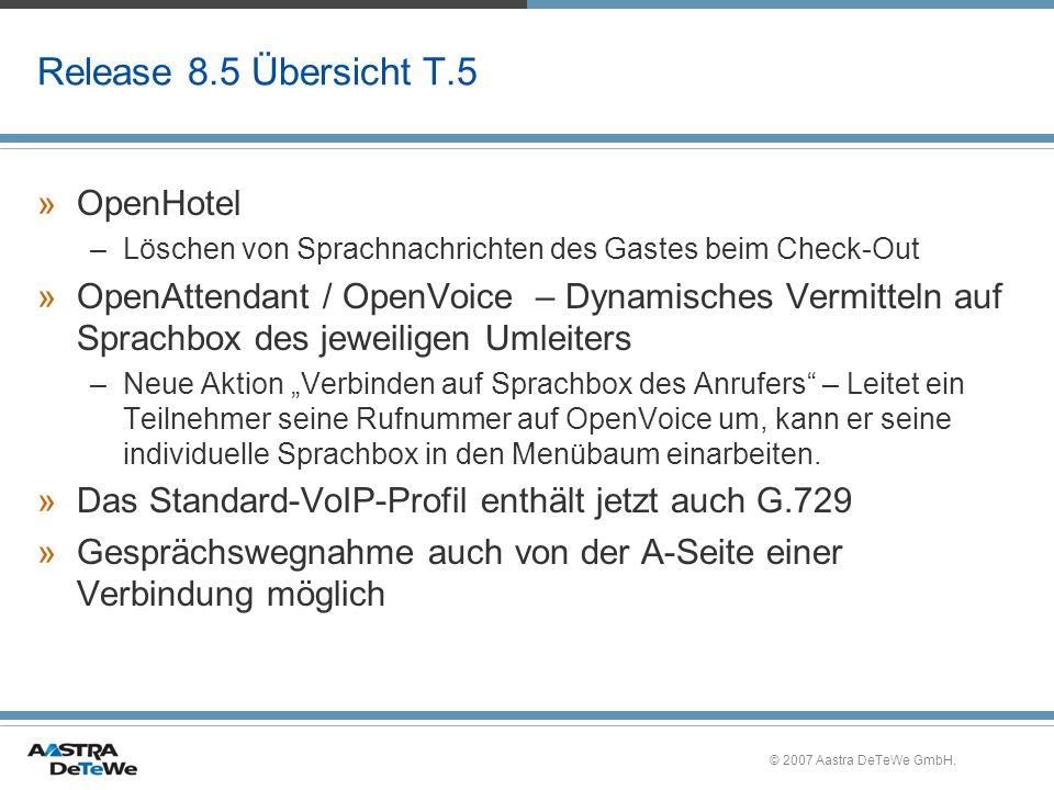 Release 8.5 Übersicht T.5 OpenHotel