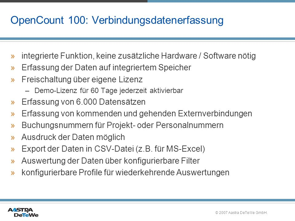 OpenCount 100: Verbindungsdatenerfassung