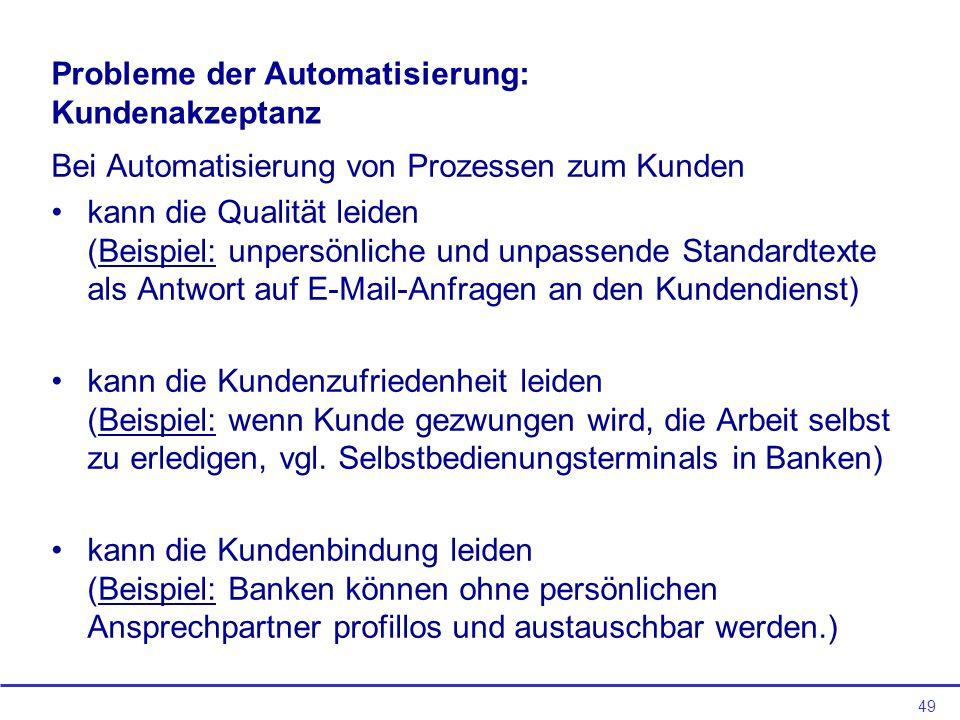Probleme der Automatisierung: Kundenakzeptanz