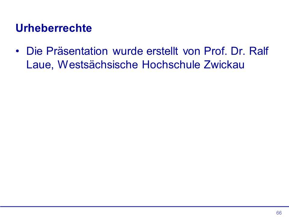 Urheberrechte Die Präsentation wurde erstellt von Prof.