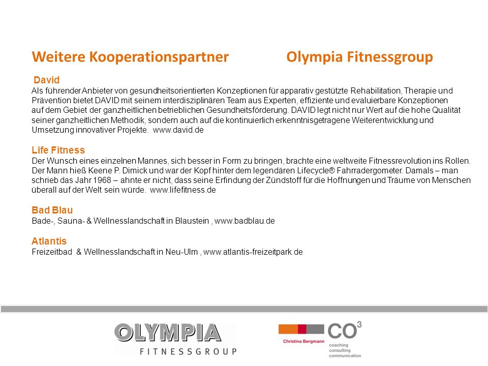 Weitere Kooperationspartner Olympia Fitnessgroup