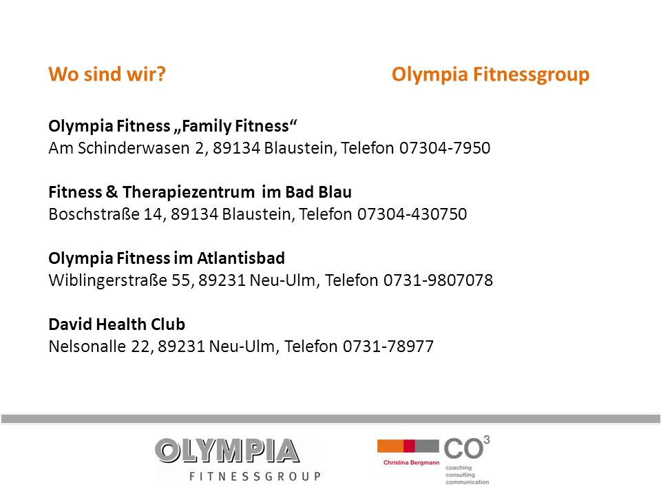 Wo sind wir Olympia Fitnessgroup
