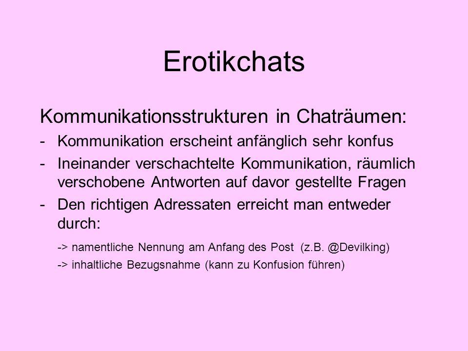 Erotikchats Kommunikationsstrukturen in Chaträumen: