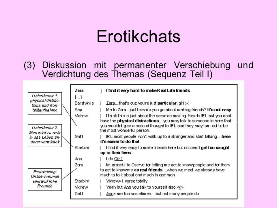 Erotikchats (3) Diskussion mit permanenter Verschiebung und Verdichtung des Themas (Sequenz Teil I)