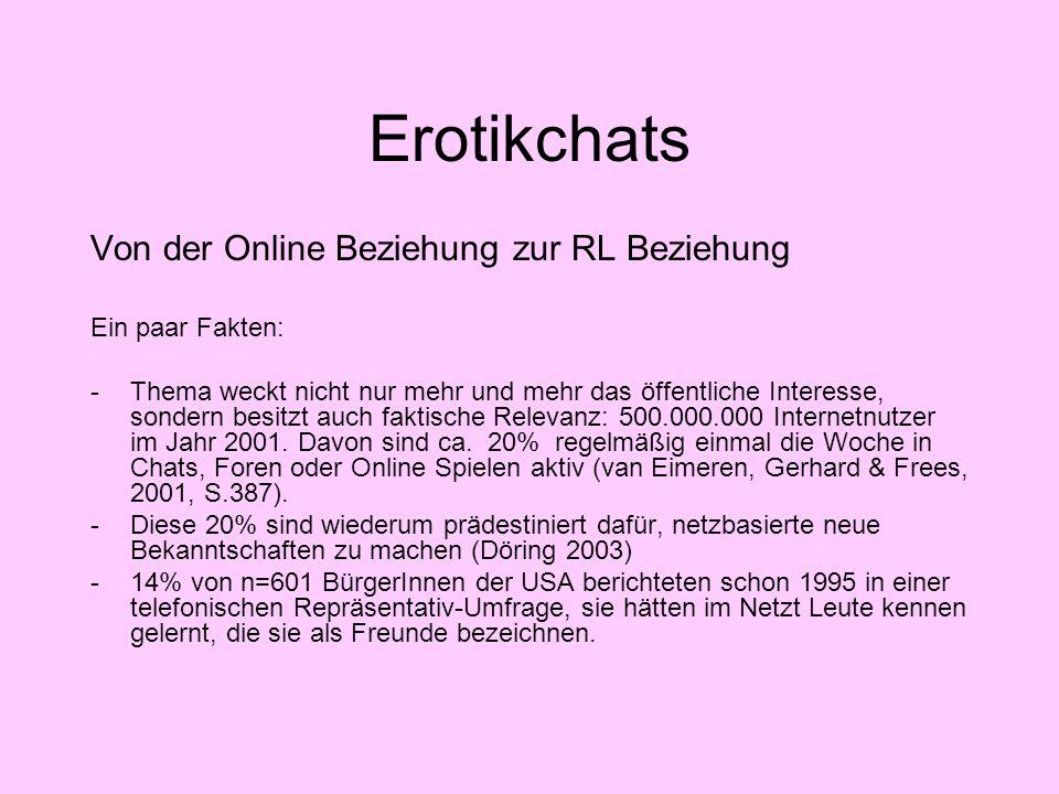 Erotikchats Von der Online Beziehung zur RL Beziehung Ein paar Fakten:
