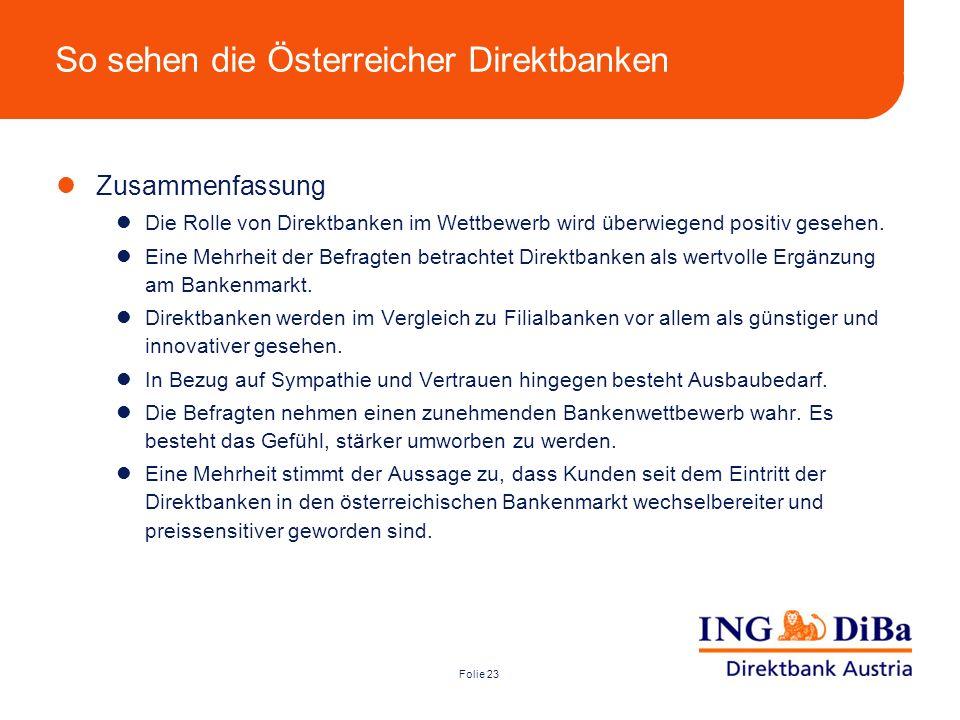 So sehen die Österreicher Direktbanken