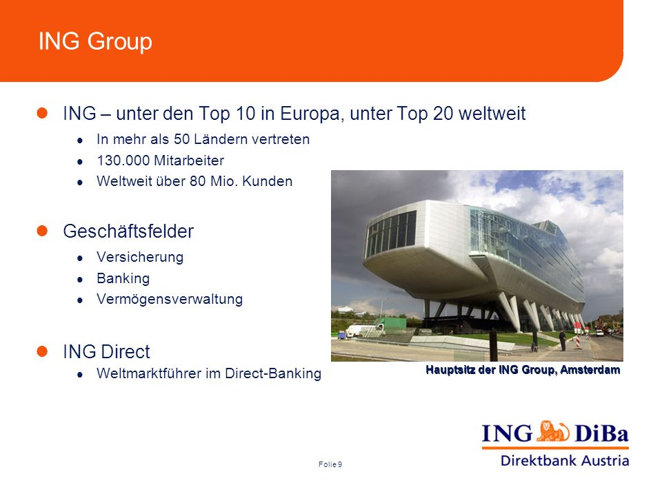 ING Group ING – unter den Top 10 in Europa, unter Top 20 weltweit