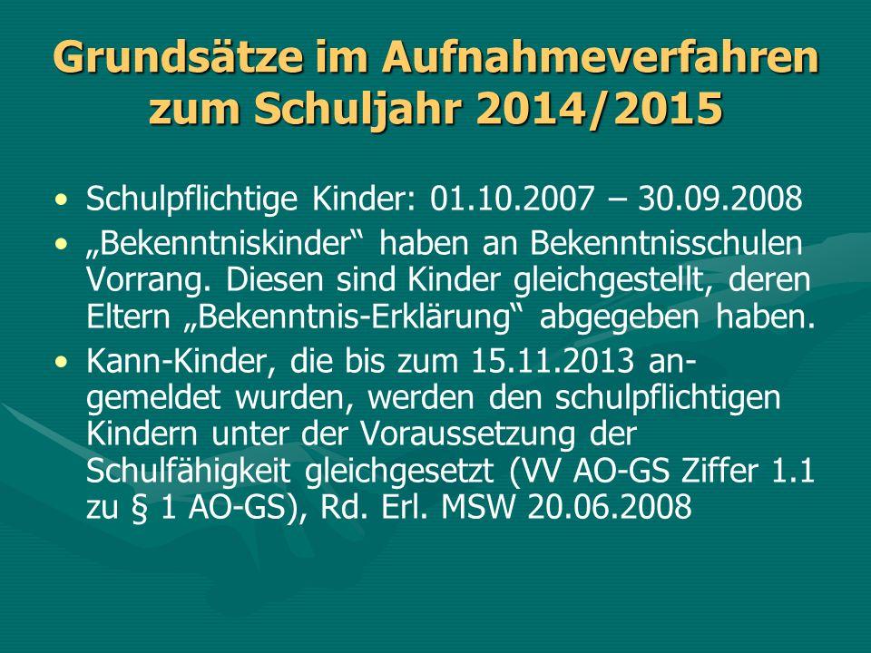 Grundsätze im Aufnahmeverfahren zum Schuljahr 2014/2015