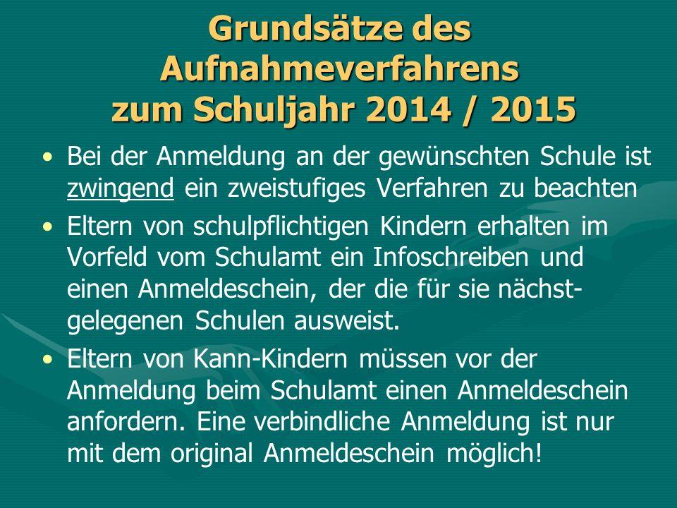Grundsätze des Aufnahmeverfahrens zum Schuljahr 2014 / 2015
