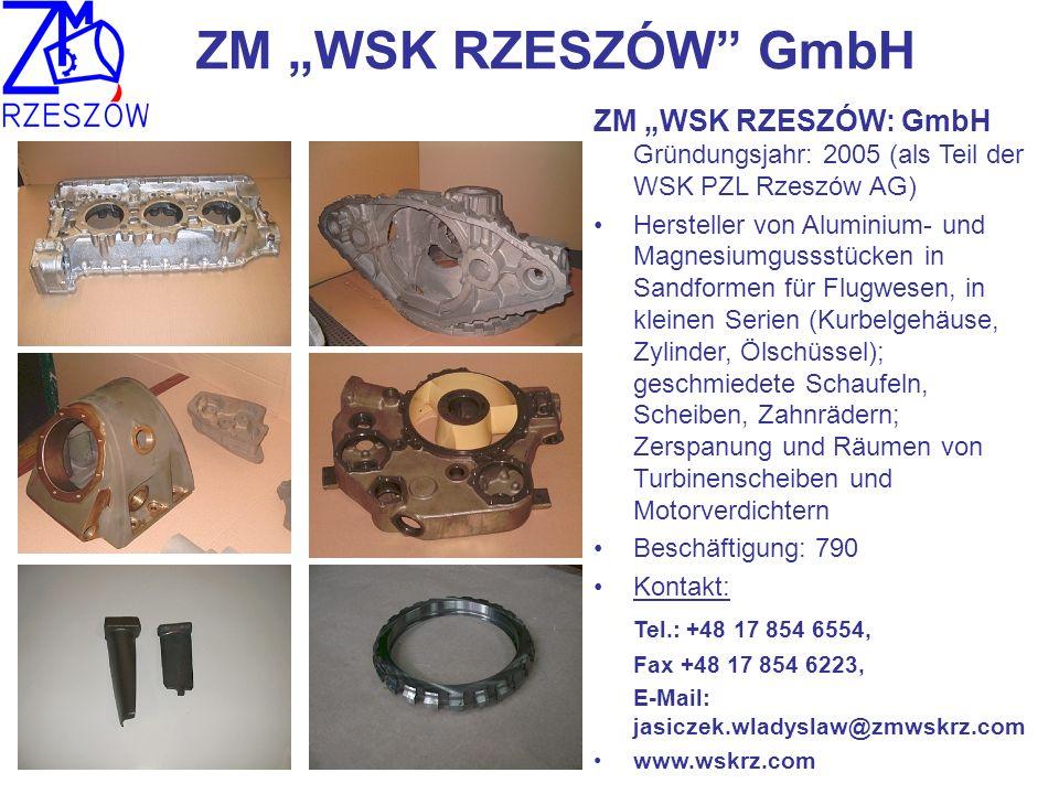 """ZM """"WSK RZESZÓW GmbH ZM """"WSK RZESZÓW: GmbH Gründungsjahr: 2005 (als Teil der WSK PZL Rzeszów AG)"""