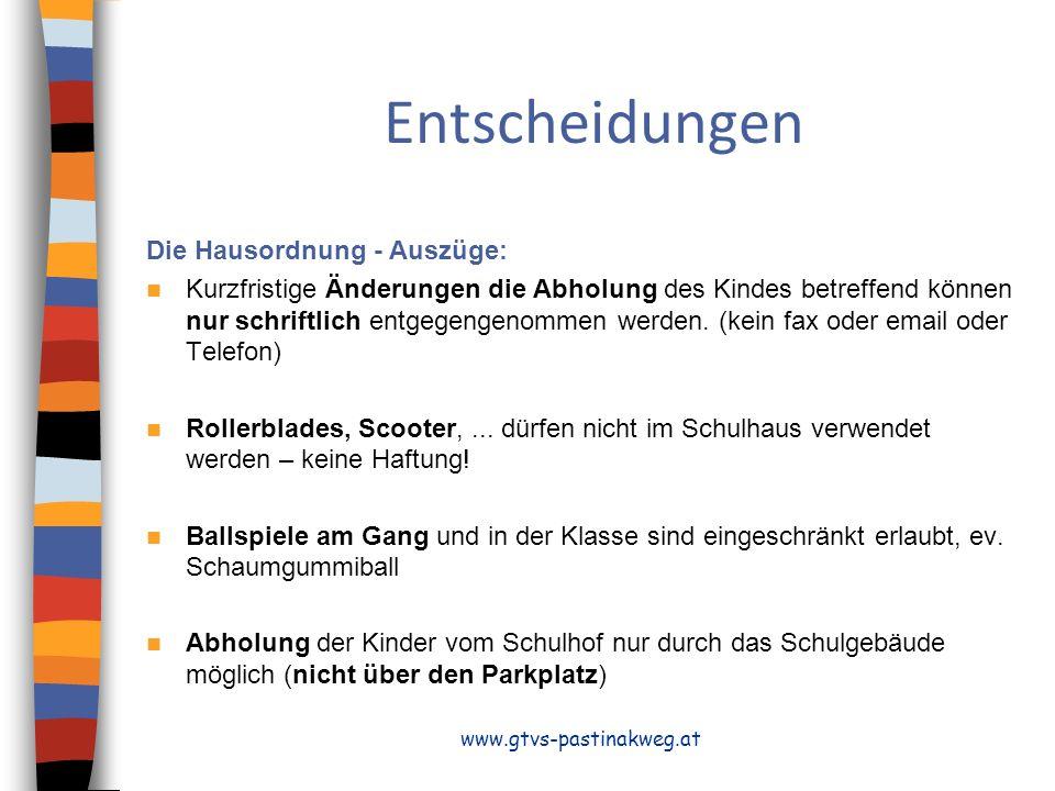 Entscheidungen Die Hausordnung - Auszüge: