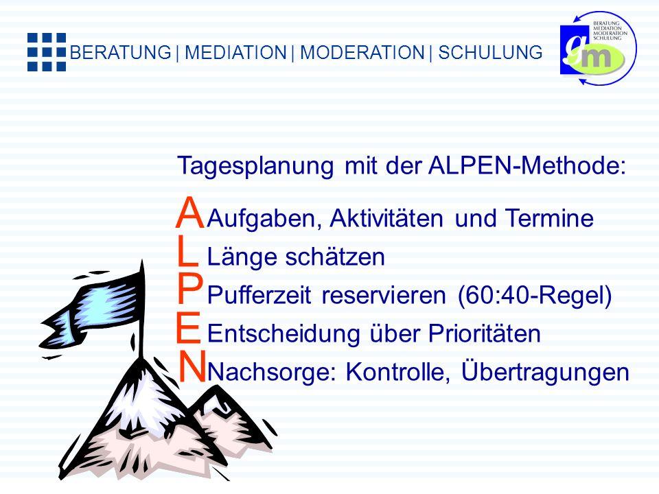 A L P E N Tagesplanung mit der ALPEN-Methode: