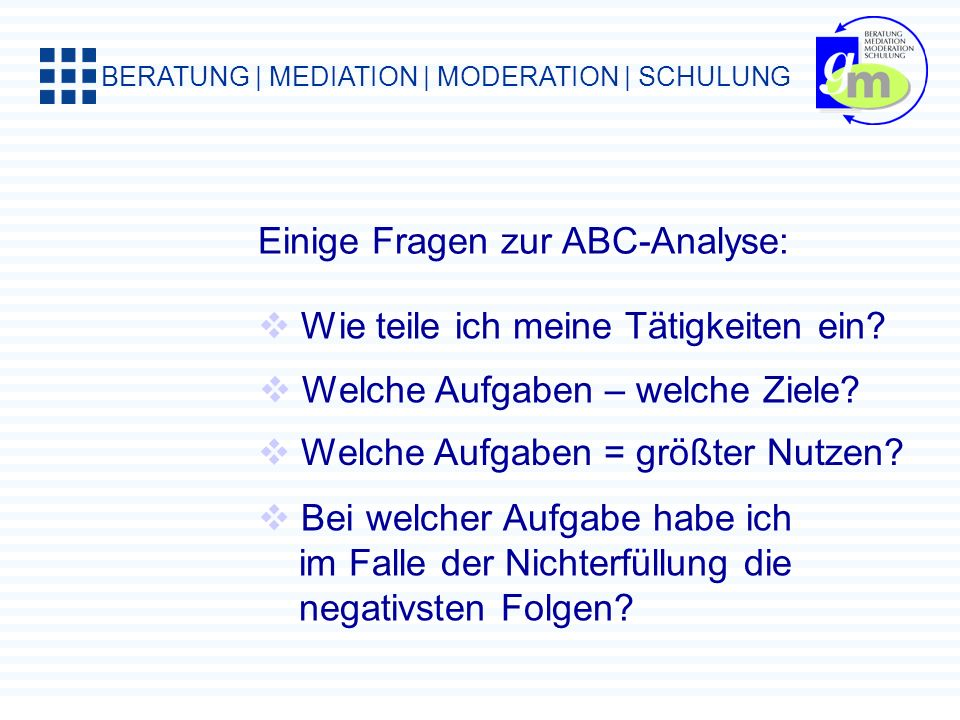 Einige Fragen zur ABC-Analyse: