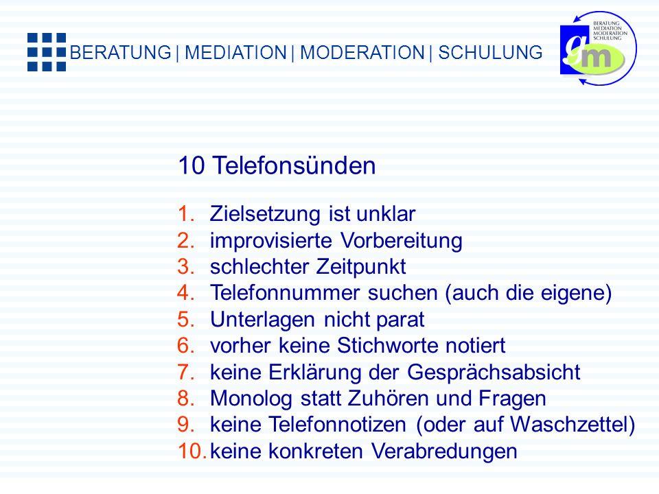 10 Telefonsünden Zielsetzung ist unklar improvisierte Vorbereitung