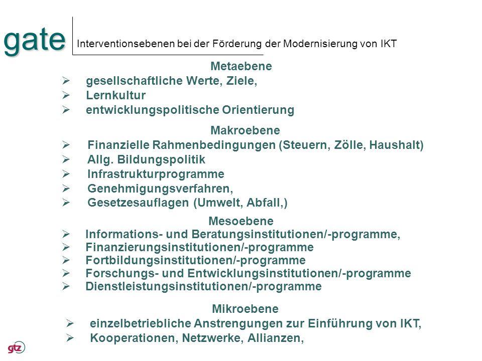 Interventionsebenen bei der Förderung der Modernisierung von IKT
