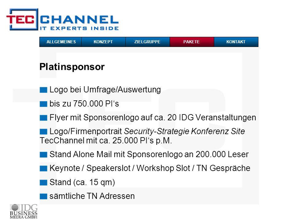Platinsponsor Logo bei Umfrage/Auswertung bis zu 750.000 PI's