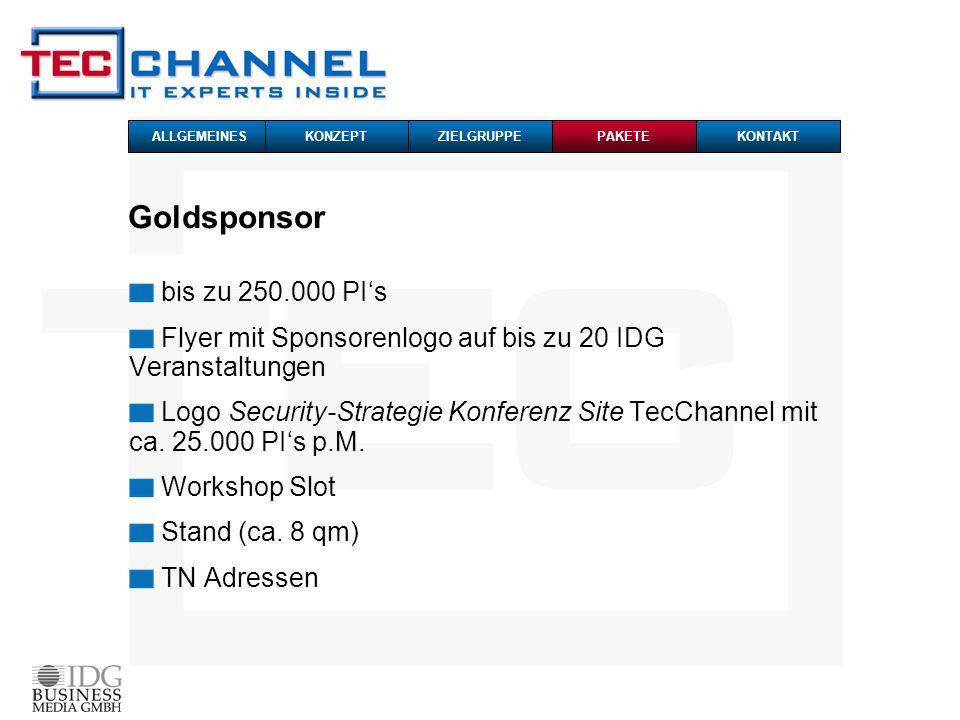 Goldsponsor bis zu 250.000 PI's