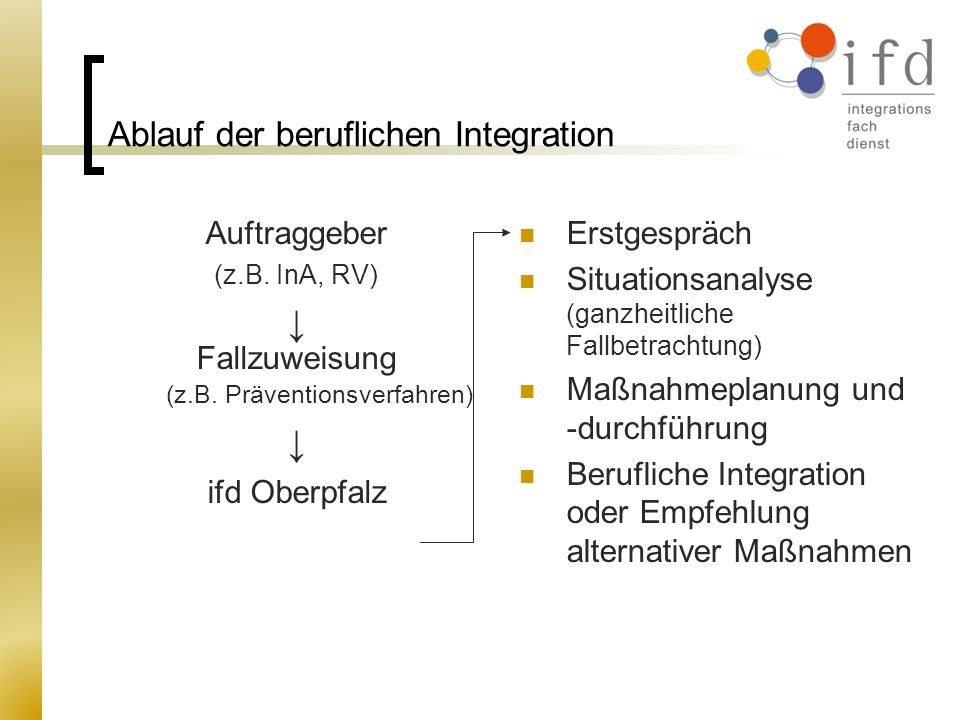 Ablauf der beruflichen Integration