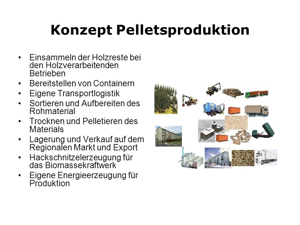 Konzept Pelletsproduktion