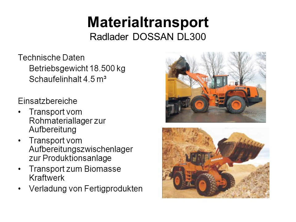 Materialtransport Radlader DOSSAN DL300