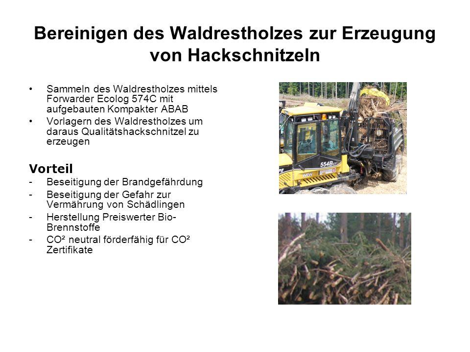 Bereinigen des Waldrestholzes zur Erzeugung von Hackschnitzeln