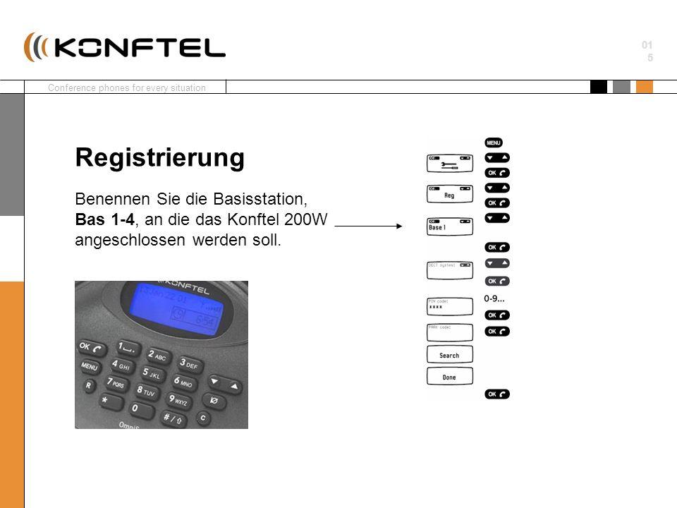 Registrierung Benennen Sie die Basisstation, Bas 1-4, an die das Konftel 200W angeschlossen werden soll.