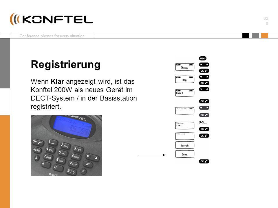 Registrierung Wenn Klar angezeigt wird, ist das Konftel 200W als neues Gerät im DECT-System / in der Basisstation registriert.